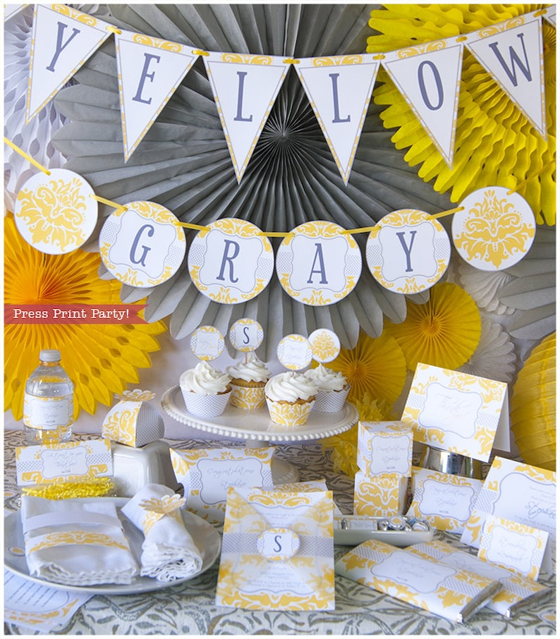 Yellow Gray Baby Shower Decorations Printable Set Gender Etsy