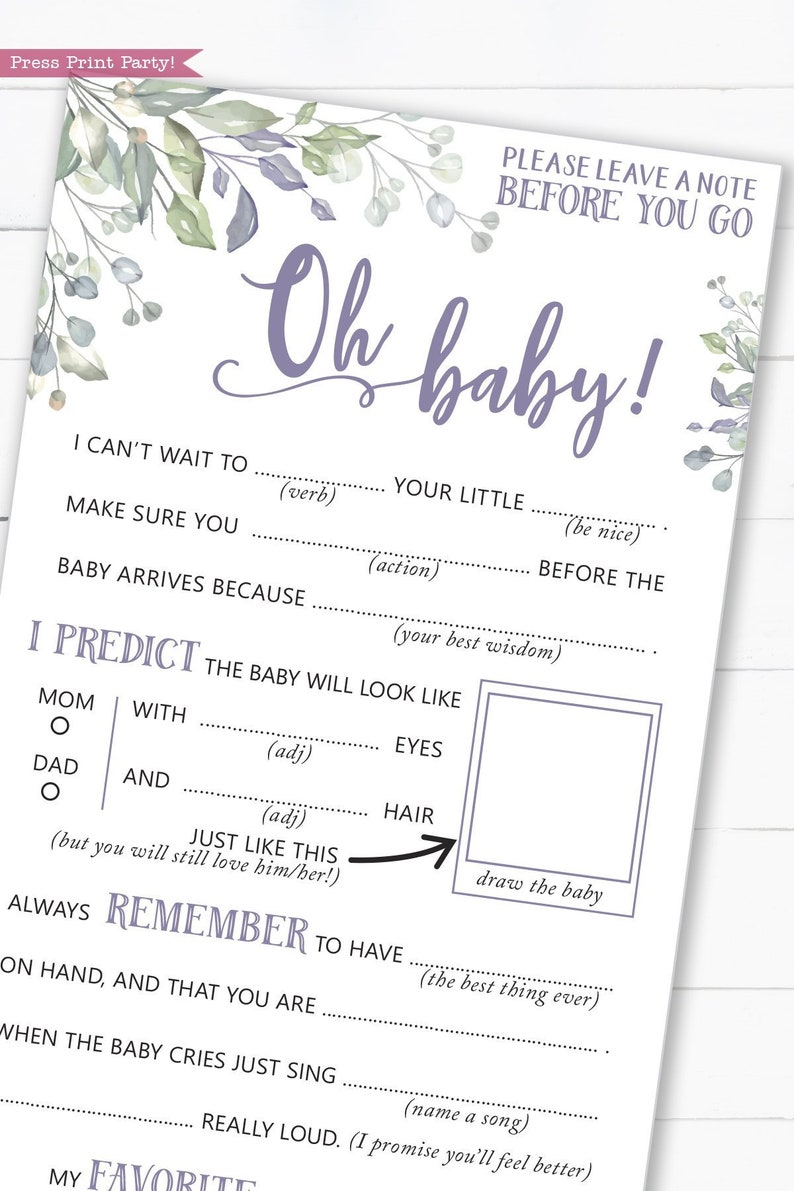 photograph relating to Baby Shower Mad Libs Printable Free identify Little one Shower Insane Libs, Printable Little one Shower Game titles, Tips Card, Kid Shower Recreation, Boy, Woman, Greenery crimson, Oh Youngster, Immediate Down load