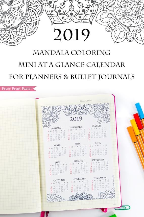 2019 Yearly Calendar Printable Mandala Bullet Journal & | Etsy