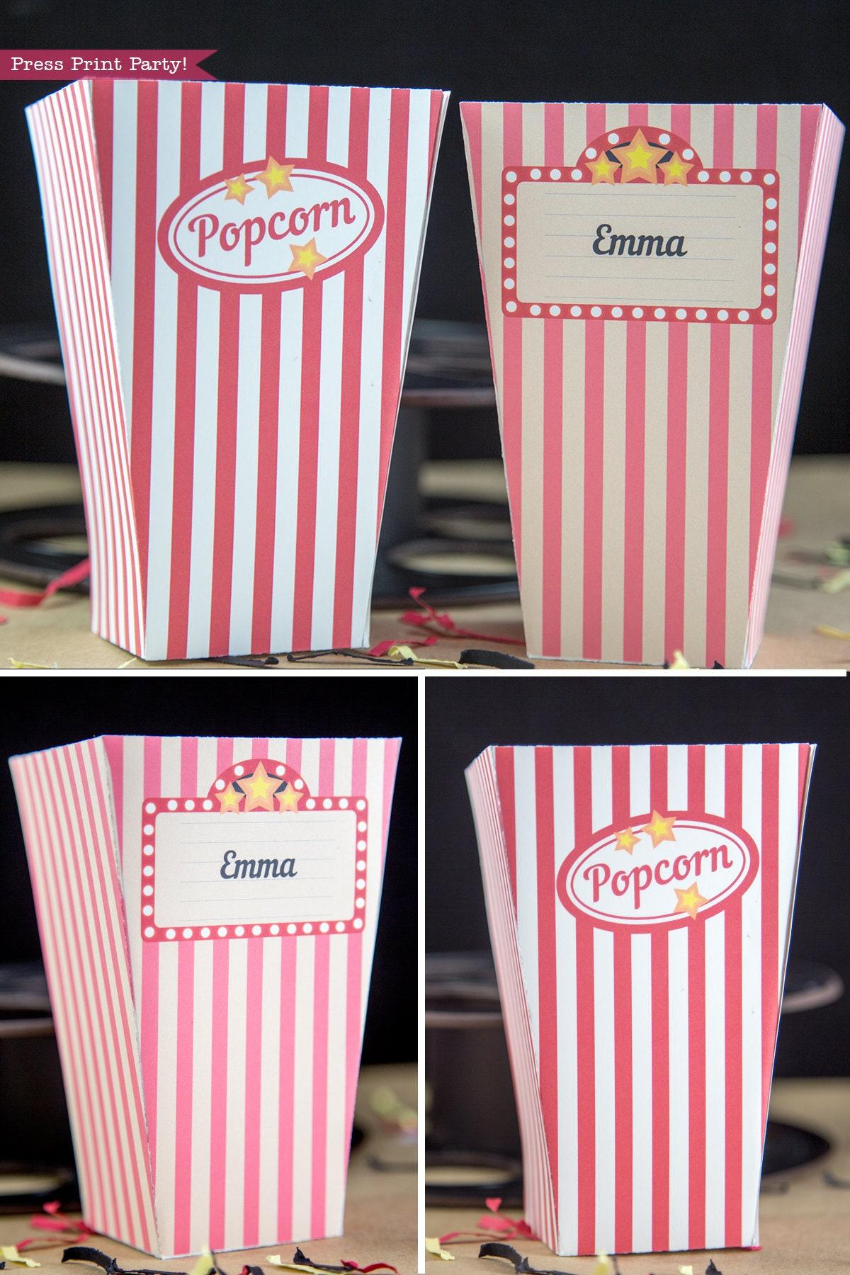 Popcorn Box Printable Movie Night Popcorn Box Movie Night   Etsy