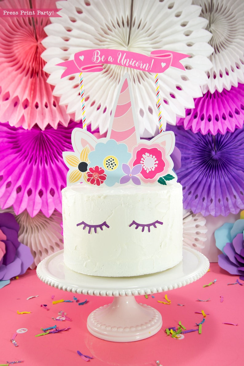 Unicorn Cake Topper Printable Party Horn