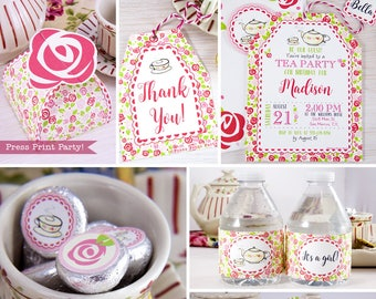 """Tea Party Baby Shower Printables, """"A Baby is Brewing"""" Tea Party Decorations, Bridal Shower Tea Party, Birthday Tea Party, INSTANT DOWNLOAD"""