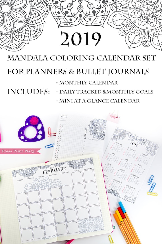 photo regarding Bullet Journal Calendar Printable called 2019 Calendar Printable Fastened, Mandala Coloring Calendar