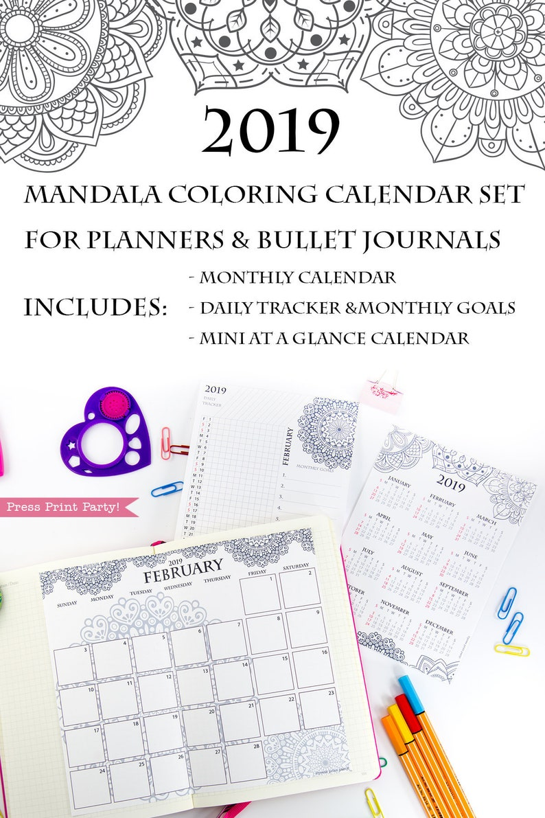 graphic about Printable Coloring Calendar called 2019 Calendar Printable Mounted, Mandala Coloring Calendar, Bullet Magazine  Planners, BUJO Monthy Planner and Day by day Tracker, Immediate Obtain