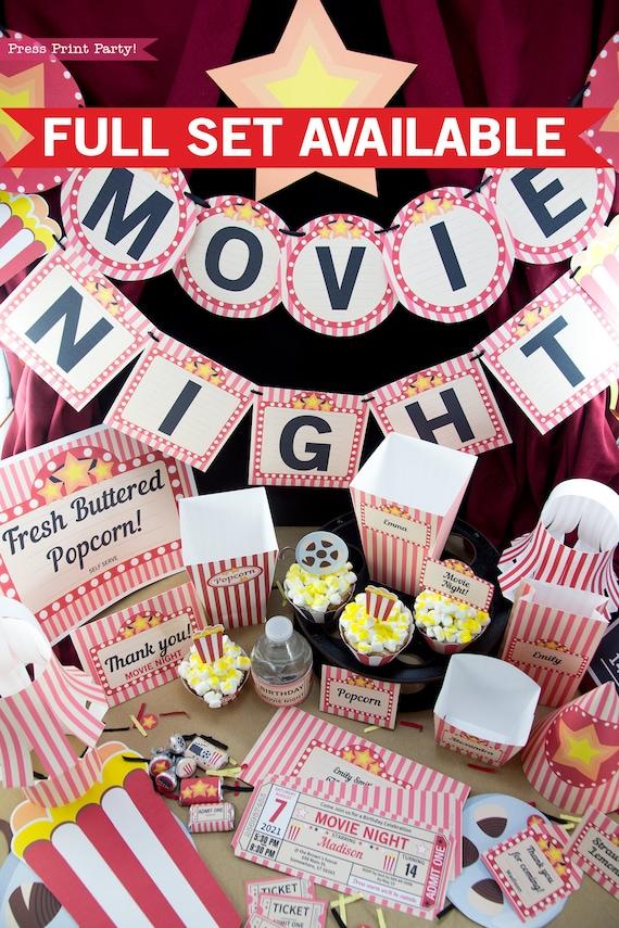 Movie Night Favor Tag Printables For Movie Night Gift Basket Etsy