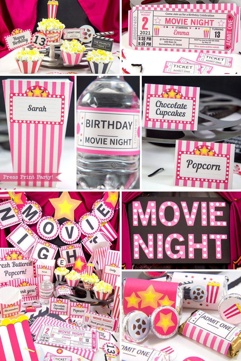 picture relating to Movie Night Invitations Free Printable identify Mobi Descargar Video clip Get together Decor Printables Crimson, Video