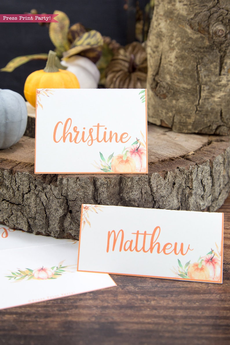 Fall Table Setting Ideas Table Setting INSTANT DOWNLOAD Baby Shower Thanksgiving Placecard Little Pumpkin Place Cards Printable