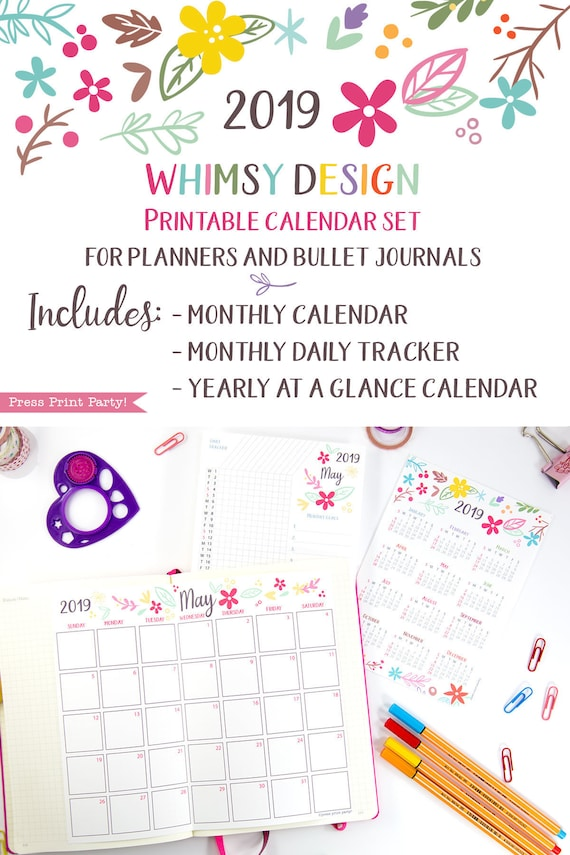 picture about Bullet Journal Monthly Calendar Printable identified as 2019 Calendar Printable Fixed, Whimsy Style, Bullet Magazine