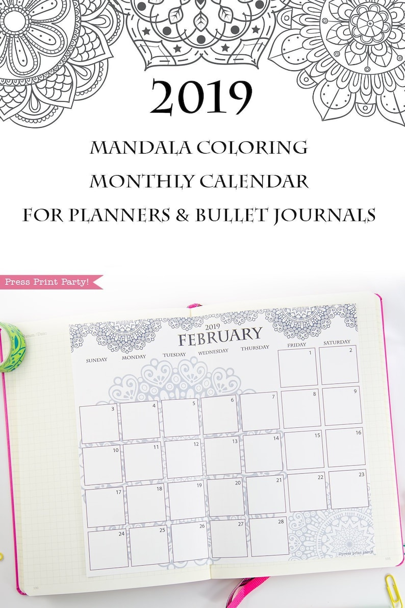 picture relating to Bullet Journal Calendar Printable titled 2019 Calendar Printable, Regular monthly Calendar, Mandala Coloring Calendar Web pages, Bullet Magazine Calendar Planners, BUJO, Prompt Obtain
