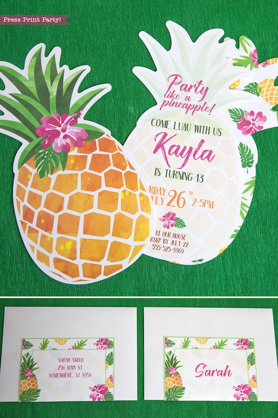 picture relating to Printable Luau Invitations referred to as Pineapple Invitation Printable, Luau Invitation, Gold
