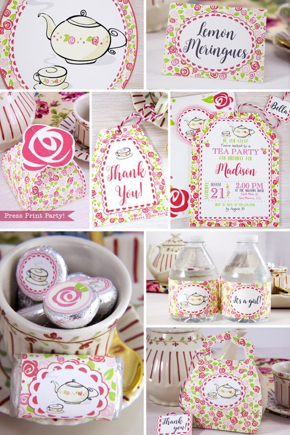 Tea Party Birthday Printables Tea Party Decorations Bridal Etsy