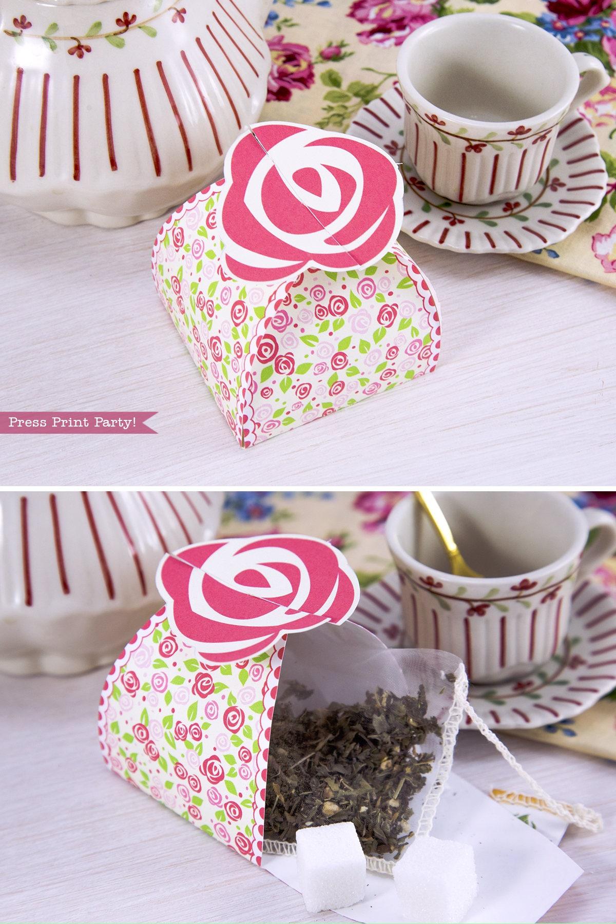 Rose Favor Box Printable Tea Party Favor Box Garden Tea   Etsy