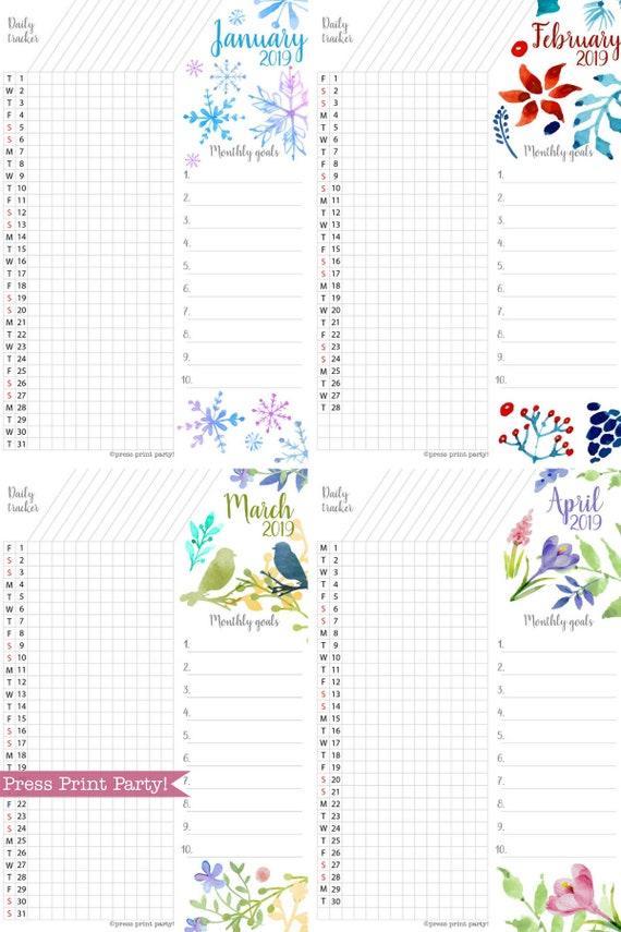 2019 task tracker printable watercolor design monthly goal etsy