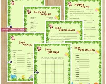 Jungle Baby Shower Games, Jungle Safari Baby Shower Games, Safari Baby Shower Games, INSTANT DOWNLOAD pdf