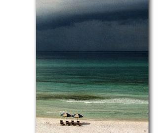 Storm Approaches Print, Stormy Seas Gray Clouds, Pale Aqua Blue Turquoise Ocean, Beach Umbrellas, Rain Coastal Cottage Decor Art Photography