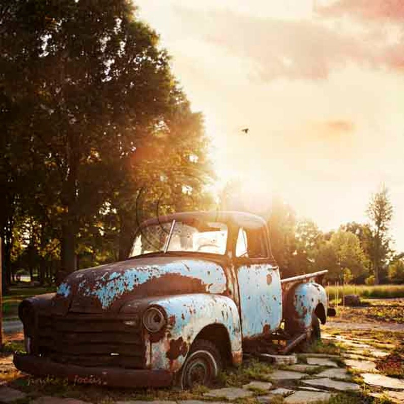 Old Chevy Truck Farm Pickup Photography Rusty Vehicle Aqua Blue Brown Rusted Chevrolet Vintage Car Lover American Classic Man Cave Art