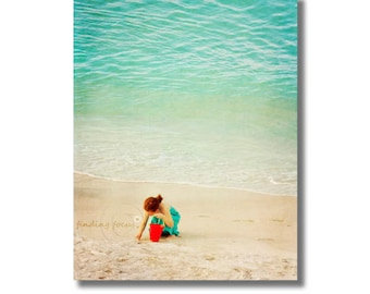 Beach Photo, Little Girl Red Bucket Aqua Blue Turquoise Water, Whimsical Portrait, Find a Treasure, Dreamy Child Coastal Cottage Photography