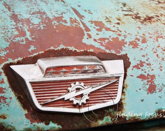 Thunderbolt Rusted Baby Blue Ford Truck Emblem Photo, Vintage Pickup Rust Chrome Abandoned Man Cave Masculine Photography, Auto Enthusiast