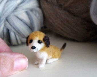 Miniature artist dog - OOAK, needle felted dog, miniature puppy, felt dog, felted animal, felt puppy, art toy, dog doll