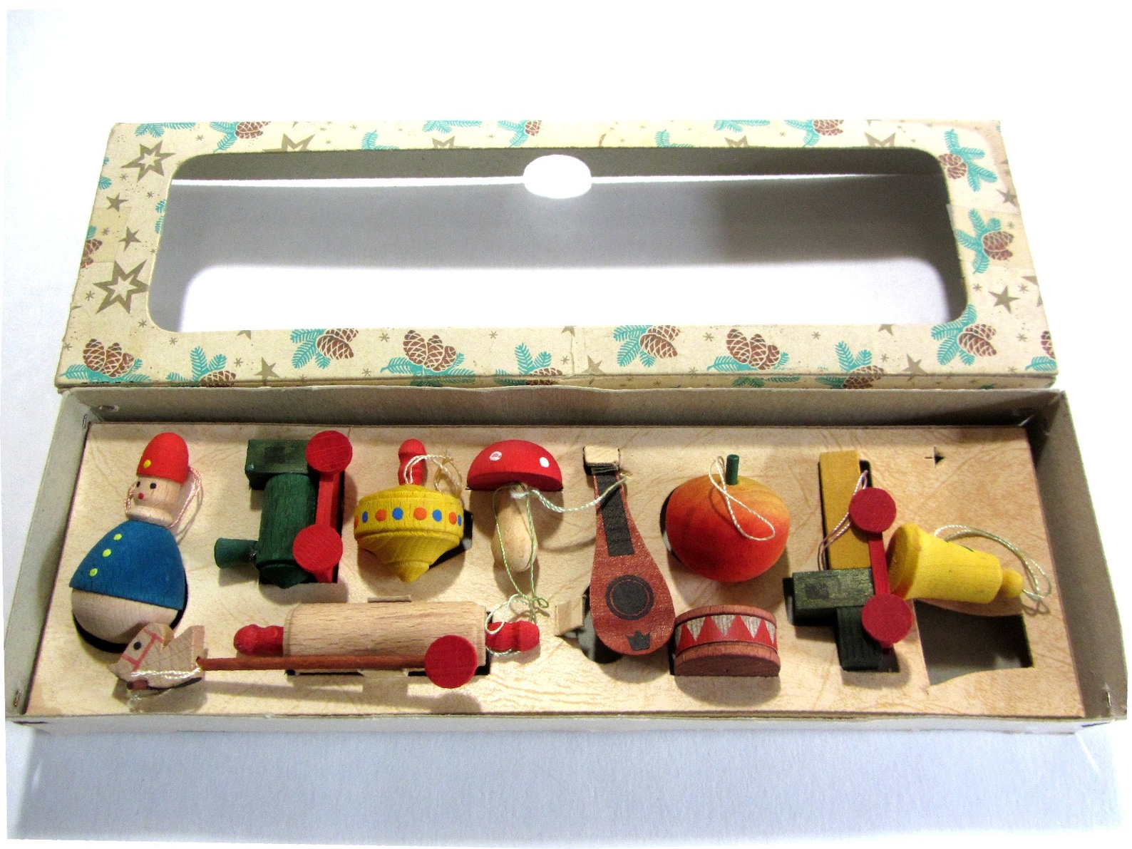 Vintage Erzgebirge Ornaments Christmas Tree Wooden Handcrafted Mini Toys Germany Original Box