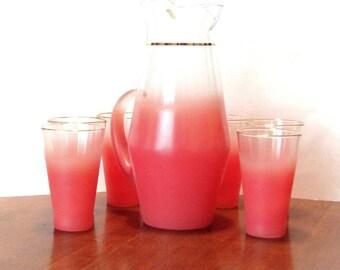 Blendo Verdi Pink Pitcher and Glasses Set West Virginia Specialty Glass New In Original Box 1960's MCM Barware Serving Picnic