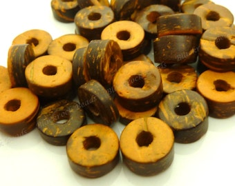 50 Pieces - Dark Brown and Tawny Brown Coconut Shell Beads - 9x5mm - Rondelle, Donut, Rustic Beads - BT3