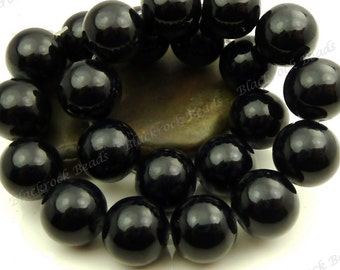 14mm Black Round Glass Beads - Smooth, Shiny, Large Beads - 14pcs - BN13