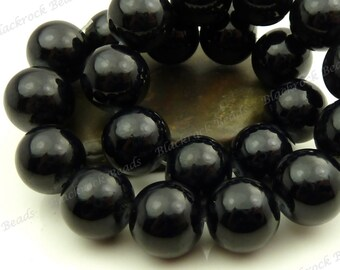 14mm Black Round Glass Beads - Smooth, Shiny, Opaque, Painted, Large Beads - 14pcs - BL31