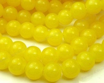 8mm Yellow Round Glass Beads - Smooth, Shiny Beads - 25pcs - BN3