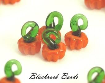 Pumpkin Lampwork Glass Pendants - 6pcs - 16x12mm - Orange Pumpkin Charms, Autumn Craft Supplies - BQ29