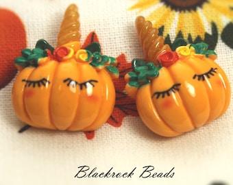 Unicorn Pumpkin Resin Cabochons - 10pcs - 21x16mm - Orange Jack-o'-Lantern - Flat Back Halloween Cabs, Resin Craft Supplies - BQ26