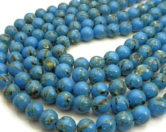 8mm Blue Magnesite and Sea Shell Beads - 16 Inch Strand (about 50 beads) - Round Gemstone Beads, Smooth Shiny Finish, MOP Shell Beads - BT2