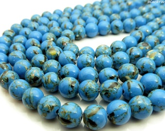 10mm Blue Magnesite and Sea Shell Beads - 16 Inch Strand (about 39 beads) - Round Gemstone Beads, Smooth Shiny Finish, MOP Shell Beads - BT1