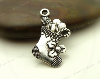 BULK 30 Christmas stocking charms antique silver tone CT59