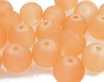 20 10mm Dark Salmon Orange Round Glass Beads 50 or 100 Pieces BN1