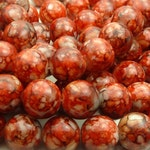Carnelian Red Round Glass Beads - 12mm Smooth Mottled Mosaic Beads - 17pcs - BN12