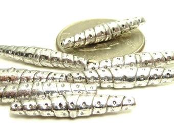 10 Antique Silver Tone Metal Tube Beads - 25x5mm - BP10