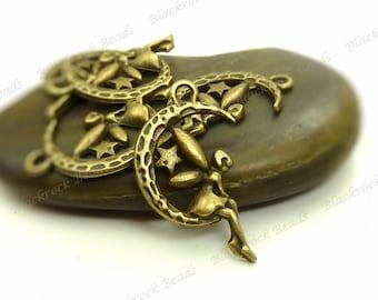 8 Fairy on the Moon Charms 15x25mm Antique Bronze Tone Metal - Fairy Pendants - BK9