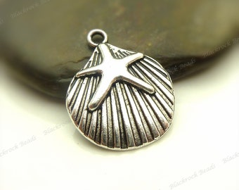 6 Shell with Starfish Charms 22x18mm Antique Silver Tone Metal - BM16
