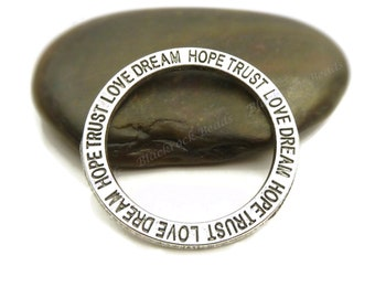 Message Linking Ring Connectors Antique Silver Tone Metal - 5 or 10 Pieces - 35mm, Hope, Trust, Love, Dream - BF15