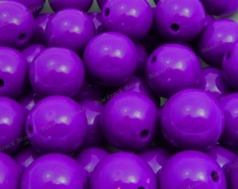 20mm Midnight Purple Chunky Bubblegum Beads - 10pcs - Chunky Gumball Beads, Candy Color Beads, Round Acrylic Beads - BR3-26