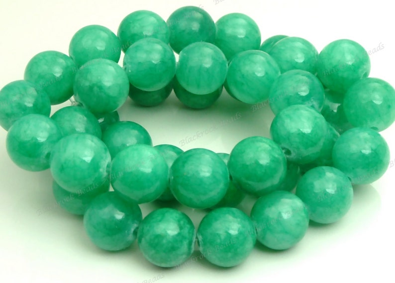 10mm Sea Green Mashan Jade Round Gemstone Beads  16 Inch image 0