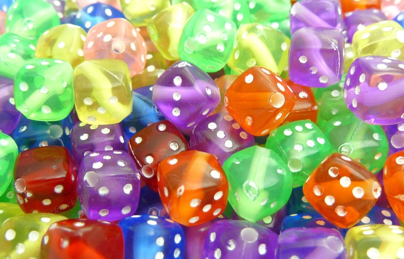 Assorted Cube Acrylic Beads  20pcs  8mm  Square Beads Cube image 0