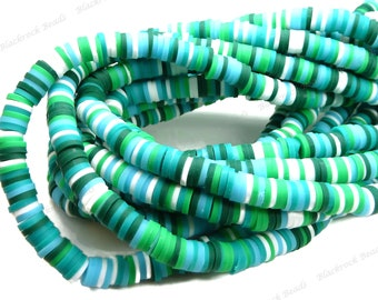 6mm Dark Green, White and Light Blue Mix Polymer Clay and Vinyl Heishi Beads - 16 Inch Strand (350-380 beads) - Rainbow Discs - BR6-46