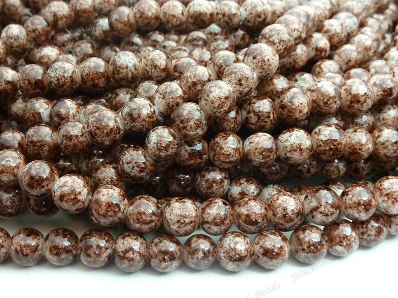 8mm Dark Brown Mottled Round Glass Beads  Smooth Shiny Beads image 0
