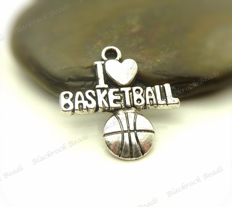 100pcs j'aime basket-ball breloques - - - ton argent métal - 22x20mm - Sports charmes, Message Athletic charmes, gros - BM15 21f3b5