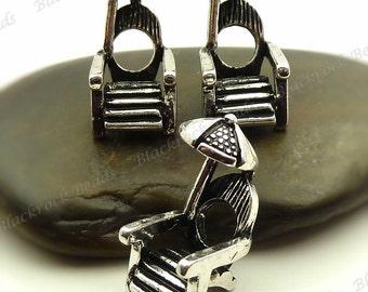 Bulk 12 Beach Chair with Umbrella European Beads (3D) Antique Silver Tone Metal 20x10mm - BH4
