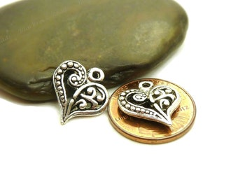 Heart Charms Double Sided Antique Silver Tone Metal - 10, 25 or 50 Pieces - 14x13mm, Heart Pendants - BM2