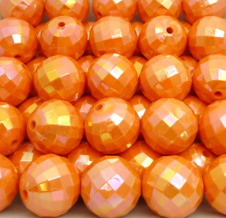 20mm Pearlized Peachy Orange Faceted Disco Ball Beads  10pcs image 0