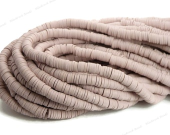 6mm Light Rosy Brown Polymer Clay and Vinyl Heishi Beads - 16 Inch Strand (about 350 beads) - Vinyl Disc Beads, Spacer Beads - BR6-47